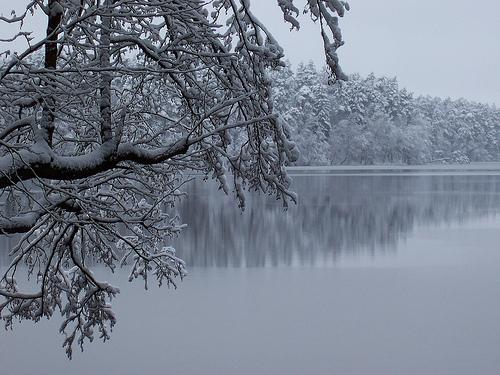jezioro zimą